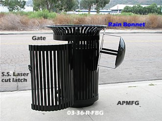 wrought iron trash with gate and bonnet