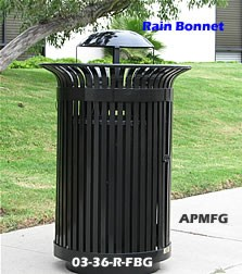 32 gallon trash receptacle with bonnet