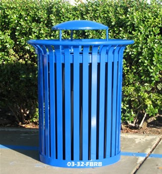 32 gallong flat bar trash receptale with rain bonnet