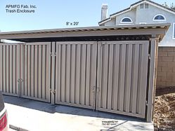 Metal Trash Enclosure Cover with Doors